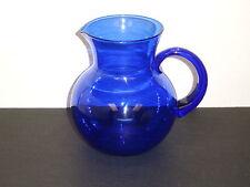 """Cobalt Blue Glass Water Pitcher 7"""" Tall Applied Handle 5 1/2"""" Diameter"""