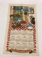 Towel Linen Calendar Vintage Kitchen Tea Wall Dish Hanging Retro 1977