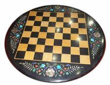 "18"" Chess Game Table Top Pietra Dura Inlay Handmade Work"