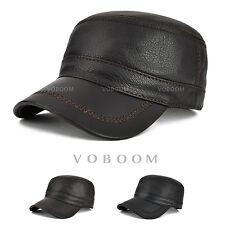 Men's 100% Sheepskin Army Cap Solid Leather Flat Cap Winter Hat Warm Driver