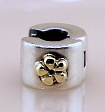 Pandora ALE Spacer Gold Flower Clip Bead Charm in Sterling Silver 925