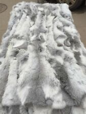 "Real Rabbit FUR Throw Blanket Patchwork Skin Fur Rug 42"" x 22"" Pelz Leather Pelt"