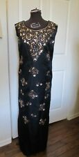 VINTAGE 1950s 60s BLACK SATIN BEADED SEQUINS MAXI DRESS EVENING GOWN S