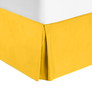 """Solid Luxury Pleated Tailored Bed Skirt - 14"""" Drop Dust Ruffle, Twin XL - Yellow"""