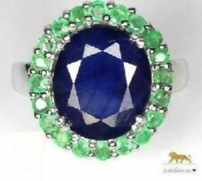 6.2 ct BLUE SAPPHIRE,EMERALD SILVER RING