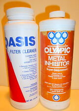 METAL INHIBITOR(1 QT.) AND FILTER CLEANER (2.5 LBS) FOR SPAS AND POOLS.,  1 QT.