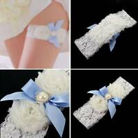 Sexy White Lace Bridal Garter Blue Pearl Bowknot Decoration Floral Garter Belt