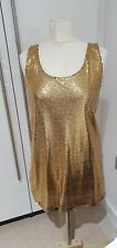 Primark Ladies Gold Sequined Party Dress - Short - Size 10