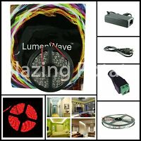 LW 5M 5050 SMD IP20 Flexible 300 LED Strip Lights Kit -White PCB- Red