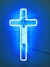 New Jesus Cross Blue Decor Artwork Real Glass Neon Light Sign 15""