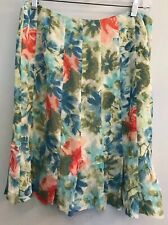 Ann Taylor Womans Petite Size 8P Skirt Green Blue Floral Pleated Flair @ Bottom