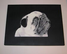"""SAGE Original """"PUG"""" Painting on wood + banksy kaws obey invader sticker with COA"""