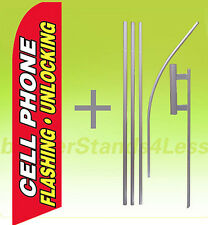 Feather Swooper Tall Banner Sign Flag 15' Kit- Cell Phone Flashing Unlocking rb