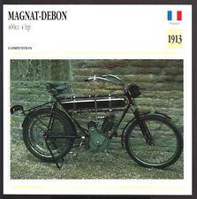 1913 Magnat-Debon 400cc 4 hp France Motorcycle Photo Spec Sheet Info Stat Card