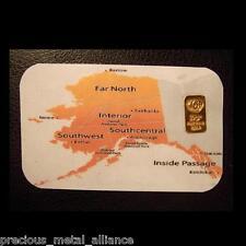 10 GRAIN 24K PURE.999 GOLD BULLION ALASKA COA BAR FREE 5 GR SILVER