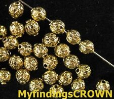 100PCS Antiqued gold Crafted round spacer beads FC814