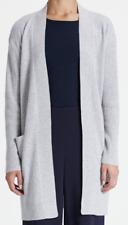 Theory Rib Sleeve Women's Cardigan Large Whale Grey Soft Cashmere Sweater $435