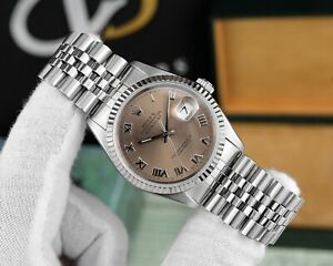 Rolex Datejust Ref. 16234 36mm Salmon Dial Box & Papers Jubilee Stainless Steel
