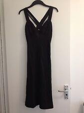 BNWOT Ladies Reiss Dark Khaki Brown Linen Fully Lined Dress, Pleated Bust-Size 8