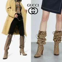 Gucci Lisa GG Canvas Supreme Knee High Slouchy Boots Lace Tie Beige EU 38 $1290
