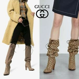 Gucci Lisa GG Canvas Supreme Knee Boots Lace Tie Beige EU 35.5 $1290 *Authentic