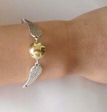 Harry potter Golden Snitch ball Bracelet, Silver Double angel wings bracelets