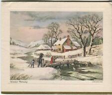 VINTAGE CHRISTMAS KINDLE FIREWOOD FARM HOUSE SNOW GEESE STREAM WINTER CARD PRINT