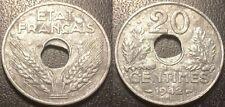 France - Etat français - Pétain - 20 centimes 1942 perforation décentrée