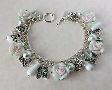 White Roses Hearts Butterflies Charm Bracelet Silver Plated Wedding Jewellery