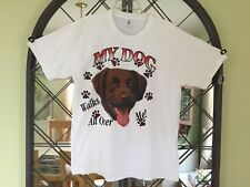 "Vtg DELTA t-shirt CHOCOLATE LAB ""My Dog Walks All Over Me"" Paw Prints Labrador"