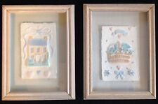 Figi Graphics Hand Cast Paper Art Beautiful Pastels Basket Of Flowers House