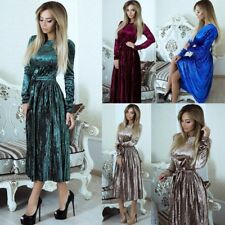 UK Womens Ladies Winter Crushed Velvet Evening Pleated Party Long Sleeve Dress