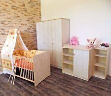Babyzimmer Komplett Set BabyBett 5Farbe Wickelkommode Schrank Umbaubar Weiß  Rosa