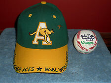 2003 AUSSIE ACES MSBL World Series Game Used Baseball Hat Signed ARTIE FLETCHER