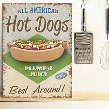 Hot dogs métal mural signe cuisine american diner restuarant rétro tin 30x41cm
