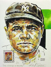 Babe Ruth New York Yankees Print USPS Legends of Baseball Stamp By Mellett