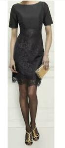 L.K.Bennett Black Charris Silk & Lace Occasion dress Short Sleeves UK 14 Party