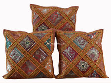 "SET OF 3 INDIAN HANDMADE ZARI WORK 16X16"" COTTON CUSHION COVER ETHNIC ART=]"