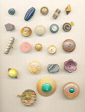 New listing 22 Wooden Buttons; Realistics, Pictorial, Shapes, Celluloid & Metal Ome, Studio