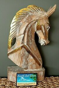 Wooden Carved Horse Head Brown Gold 33cm High NEW