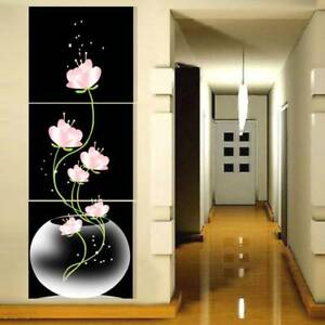 3 Panel Hot Sell Beautiful Pink Flower Modern Wall Painting Home Decor