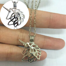 Retro Women Hollow-out Pearl Cage Locket Pendant Vintage Silver Necklace Jewelry
