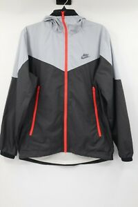 Nike men's S Windrunner Full Zip Jacket Gray Black Hoodie Running Windbreaker