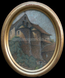 Ludovic Piette pastel View of a Church, French Impressionist