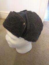 Turkish black leather, grey fur cap size XL