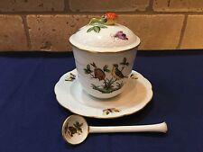 Herend Rothschild Bird Covered Jam Jar w/ Spoon