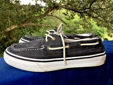 SPERRY TOP SIDER Denim Black Canvas Boat Deck Casual LOAFERS Mens Shoes Size 8