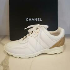 CHANEL 18C Leather Lace Up Tennis Sneakers Kicks Shoes White Gold $950