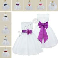 Sash Petals Flower Girl Wedding Formal Bridesmaid Party Pageant Princess Dress