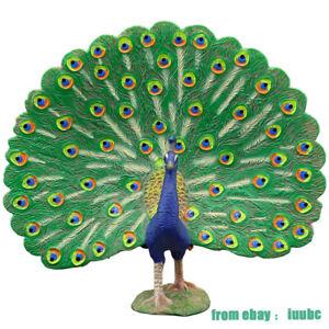 Green Peacock Children's Simulation Wild Animal Model Set Miniature Toys